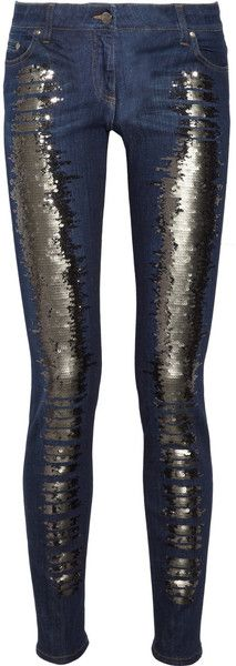ROBERTO CAVALLI   Sequined Lowrise Skinny Jeans - Would be great for a night downtown!