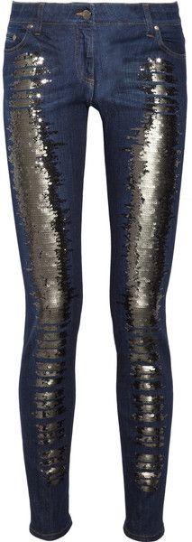 ROBERTO CAVALLI   Sequined Lowrise Skinny Jeans