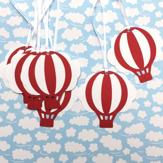 Red and White Hot Air Balloon & Cloud Baby Shower gift tags.