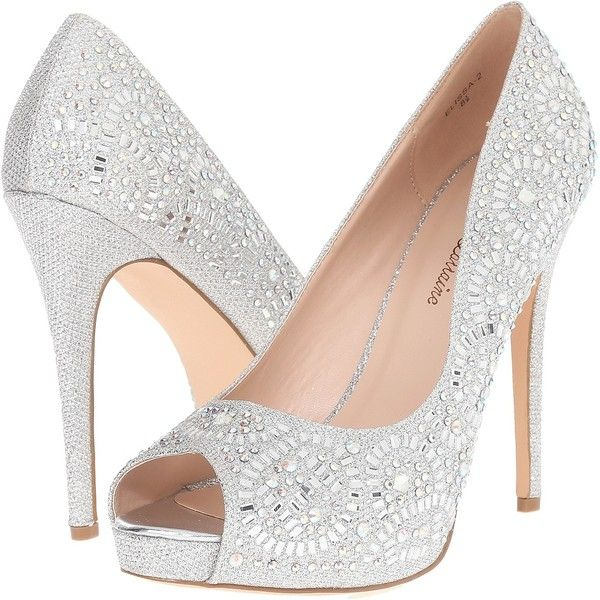 Lauren Lorraine Elissa-2 (Silver Sparkle) High Heels ($50) ❤ liked on Polyvore featuring shoes, sandals, heels, silver, silver high heel sandals, metallic platform sandals, peep toe sandals, silver platform sandals and high heeled footwear