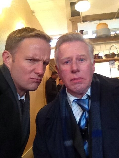 Rupert Penry Jones being cute, with Phil Davis while filming Whitechapel.
