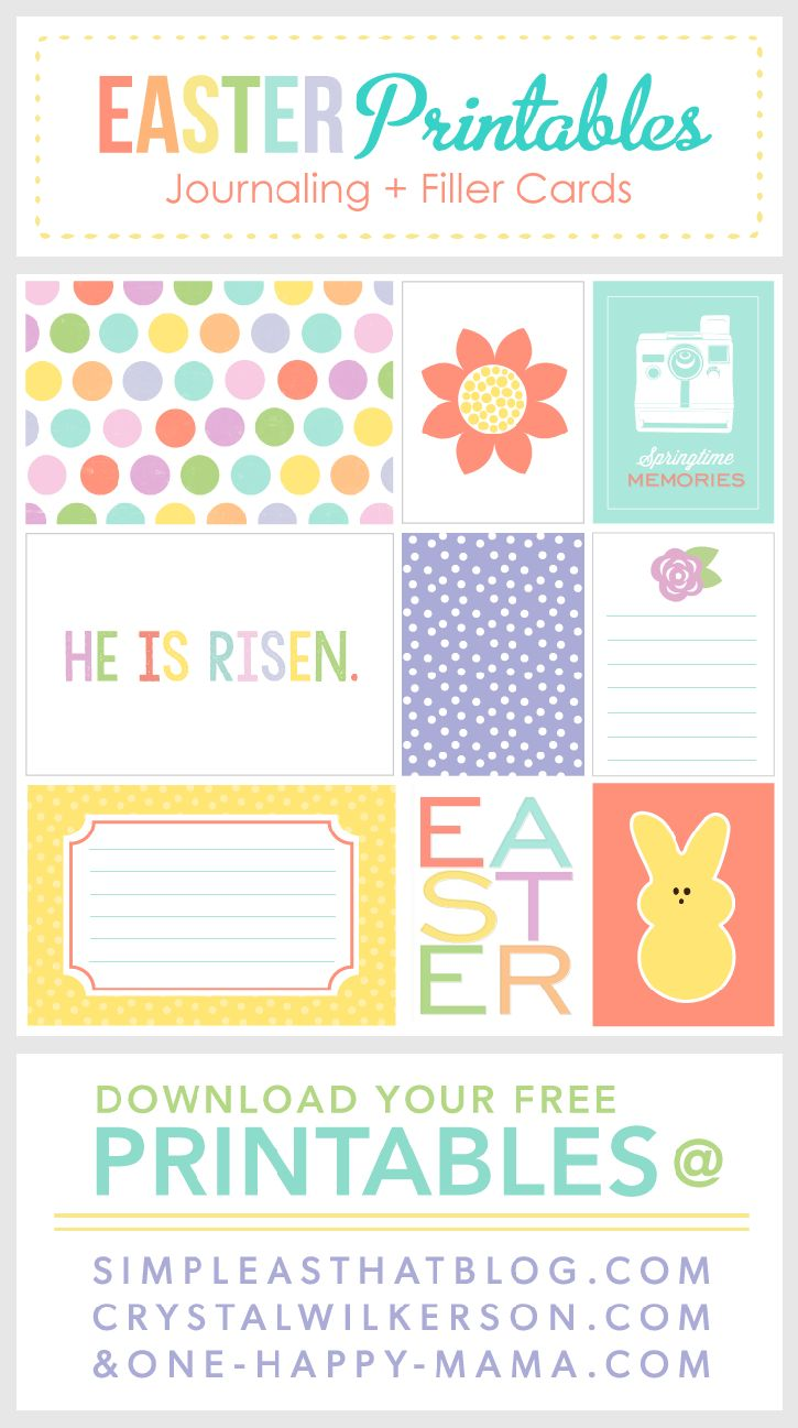 FREE Easter themed journaling + filler cards. Watch for more fun freebies coming the fifth of every month! #FreebiesOnTheFifth #projectlife #scrapbooking