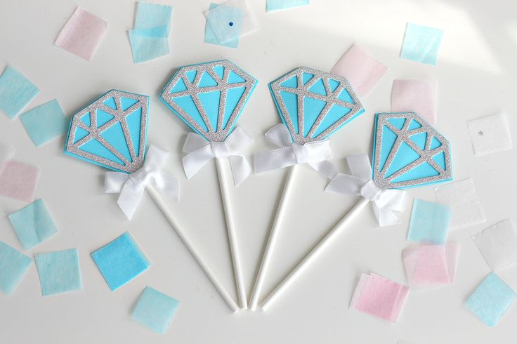 Set of 5-Blue Diamond Cake Toppers-Bridal shower, Wedding, Engagement, Birthday by ChampagneAndConfetti on Etsy