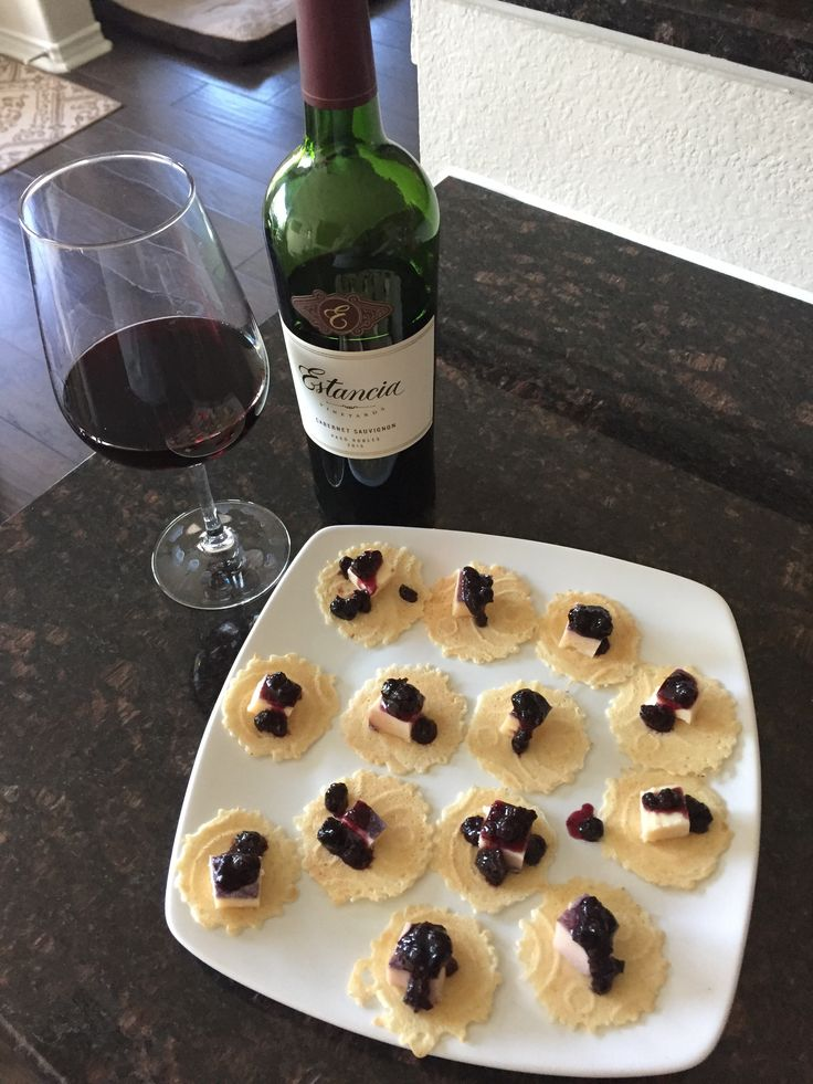 Quick wine and cheese appetizer  -Merlot Bellavitano Cheese -34-Degree crackers  -Murray's Wild Blueberry Preserves