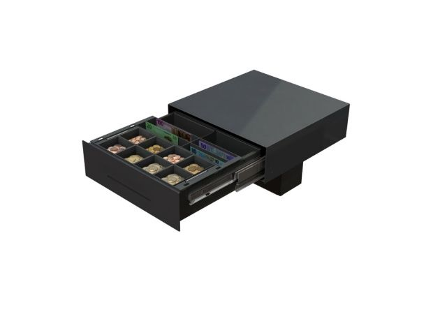 Cash Bases Slide Out Cash Drawer  415w x 422d x 125h Epson RJ12 inc 4 Note 8 Coin vertical tray Internal Skimming to Drop Box Black