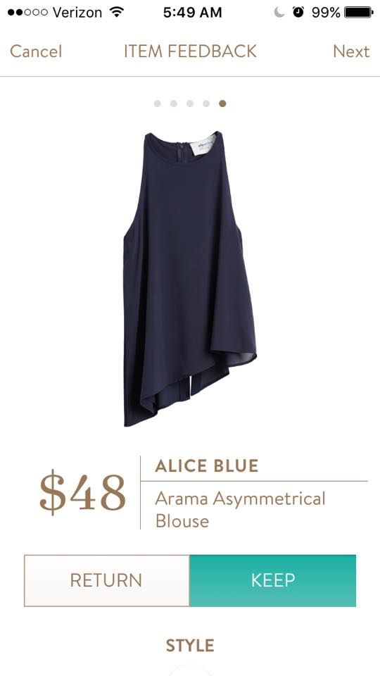 #stitchfix @stitchfix stitch fix https://www.stitchfix.com/referral/3590654 Received in my March Fix - Alice Blue Arama Asymmetrical Blouse in Navy Blue