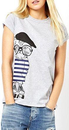 Grey O-neck Short Sleeves Cat Printed T-shirt