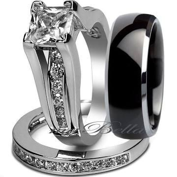 wedding band set - Google Search Black one for him