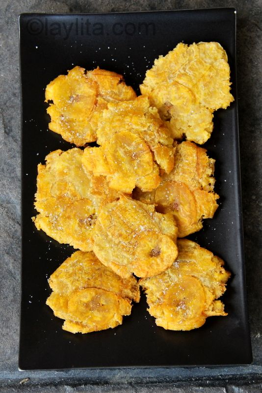 Patacones/Fried GREEN Plantains: Ecuador is a land full of tropical plants, flowing rivers and delicious food. These are easy to make and taste great with anything as a topping. Bread, tortillas... crackers? Patacones, crunchy, add sea salt