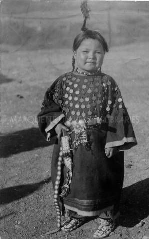 Four Horn wearing penny dress, 1910? :: Bureau of Catholic Indian Missions **This is one of the few good examples of a penny dress I've been able to find. I'd really love to find more! **