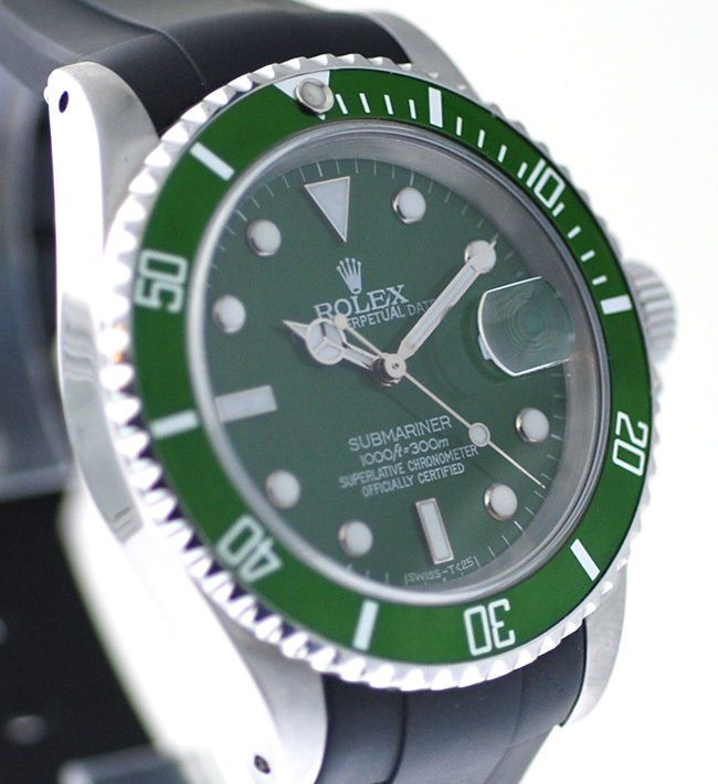 Rolex 16610 Submariner Watch  Mens,With Green Dial & Green Bezel, On Black Strap #Rolex #Dress