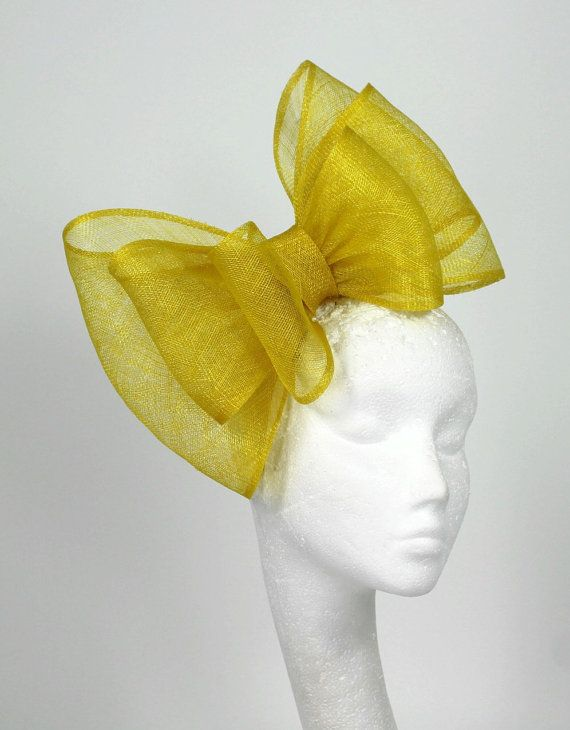 Canary Yellow Fascinator Hat for Weddings Races by Hatsbycressida, $80.00