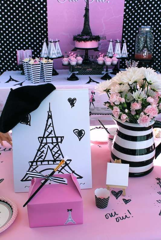 Glam pink and black French painting birthday party! See more party ideas at CatchMyParty.com!