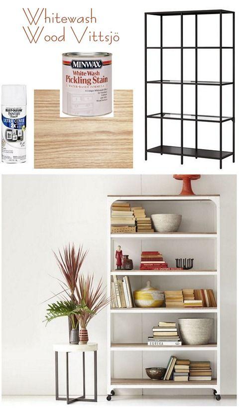 whitewash wood vittsjo to look like west elm shelving unit. Black Bedroom Furniture Sets. Home Design Ideas