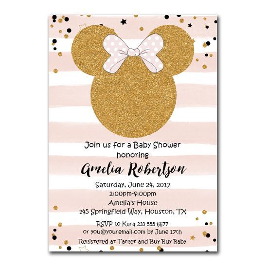 Minnie Mouse Baby Shower Invitation Pink Gold Glitter Editable Pdf Template Printable Instant