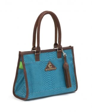 The Mini - Indy .The Consuela Mini is the perfect handbag for every day. It transitions easily into any occasion. There is a zipper pocket and two open pockets inside, and three outer pockets, so plenty of places for organized storage!