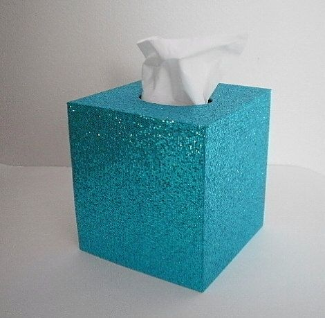 AQUA GLITTER Tissue Box Cover - Sparkling Aqua by LaurieBCreations