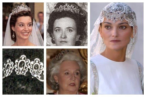 Photos (clockwise from top left): Bárbara Cano y de la Plaza; Infanta Pilar, Duchess of Badajoz; Laura Ponte y Martínez; Infanta Pilar, Duchess of Badajoz; tiara detail