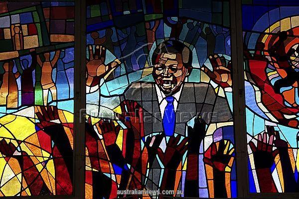 A Mandela stained glass window