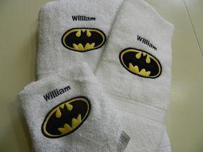 3 Piece Batman Applique Bath Towel Set  by embroidablesbydee, $32.00