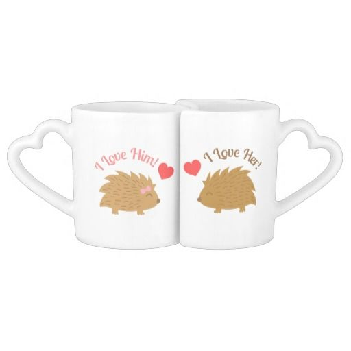 """An adorable hedgehog lovers mug set! The mugs fit perfectly together and even the handles are heart -shaped. The texts """"I love him!"""" and """"I love her!"""" make the mugs just perfect for a couple! A super sweet Valentine's Day gift idea!"""