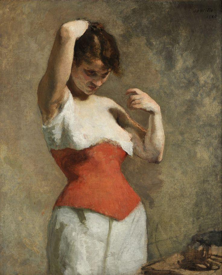 Femme au Corset Rouge - Adrien de Witte, 1880 Belgian, 1850-1935 Oil on canvas