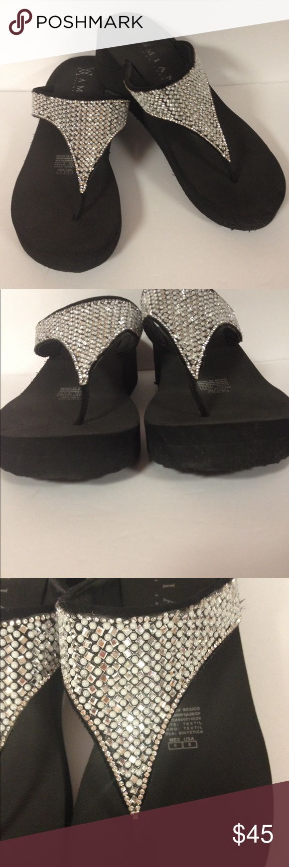Amiani resort fashion bling flip flops 8 Excellent condition. Only worn a few times inside.  Very comfy.  Black.  Size 8 Amiana Shoes Sandals