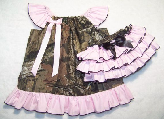 2 pcs Camo & Pink Set ~ Camo Dress + Ruffle Bloomer / Mossy Oak / Ruffle Dress / Outfit / Infant / Baby / Girl / Toddler / Boutique Clothing