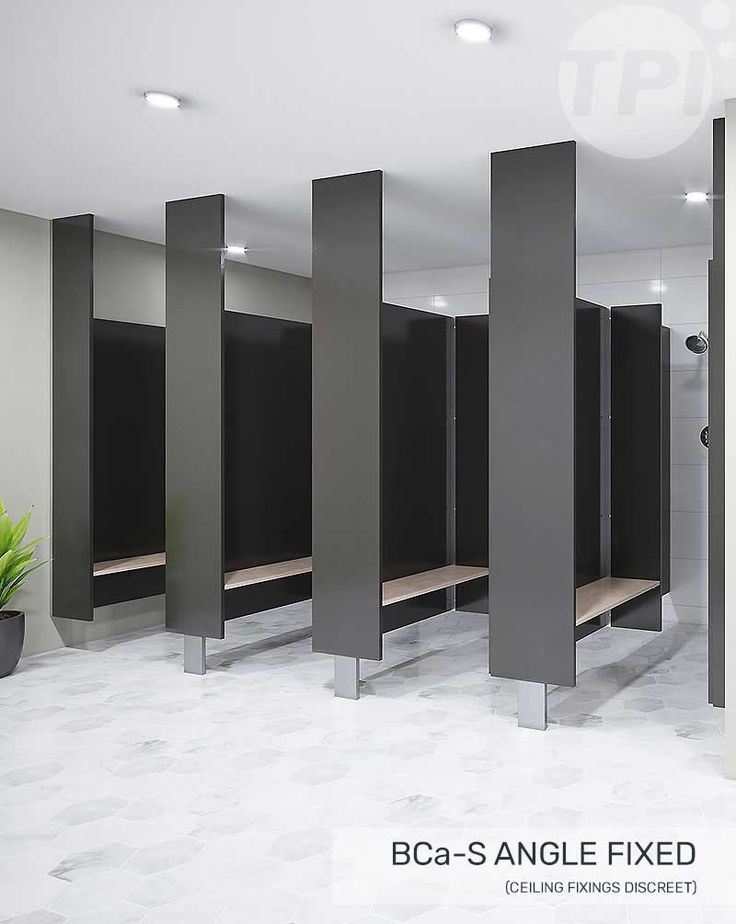 The BC design makes good use of a high ceiling. Sitting tall on blade-mounts, fixed solidly overhead, a row of BC cubicles emphasises the vertical. The firmly anchored frontals mean door & division panels can be extended above standard-height for greater privacy and prestige, while the open floor makes cleaning easy.
