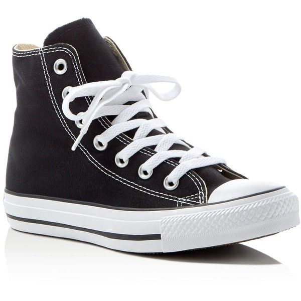 Converse Women's Chuck Taylor All Star High Top Sneakers (€51) ❤ liked on Polyvore featuring shoes, sneakers, converse, black, sapatos, converse sneakers, hi tops, black sneakers, star sneakers and black spot shoes
