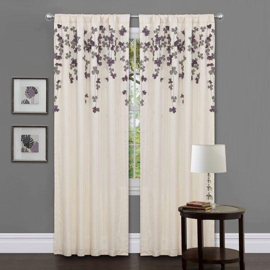 Triangle Home Fashions Flower Drop Purple Window Panel