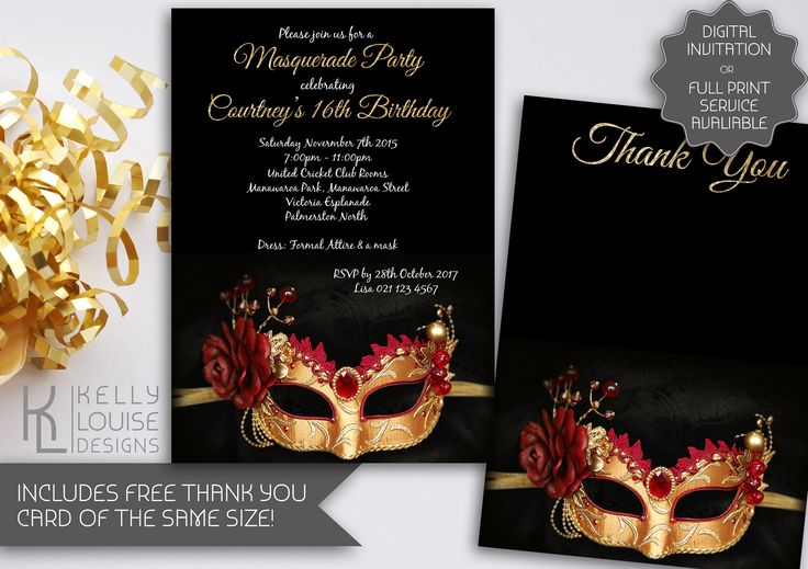 Masquerade Birthday Invitation | Printable Invite | Gold Masquerade Party | Masquerade Ball | Carnival | Mardi Gras | Dress Up Party (073) by kellylouisedesigns on Etsy