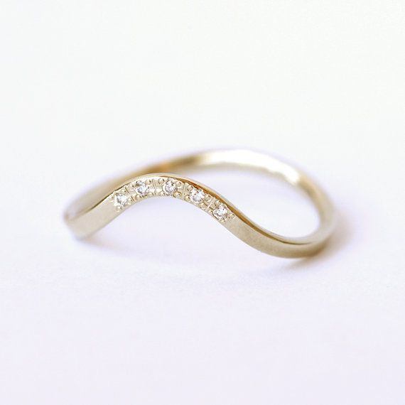 Curved Ring with Pave Diamonds  Diamond Wedding Band  by artemer, $520.00