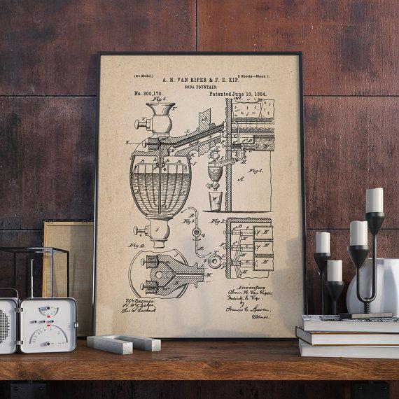 Soda Fountain Machine Patent Soda Fountain Poster Wall by dalumna