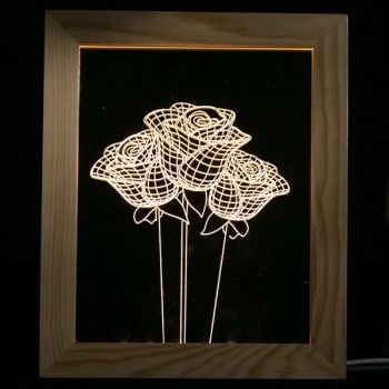 Rose Flower Wooden Photo Frame LED Table Night Light