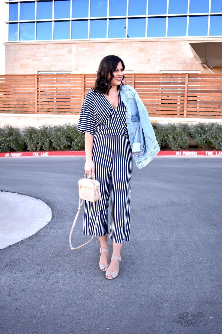 bfcfb631529 Nautical Jump Suit    How to wear a stripe jumpsuit    Strip Jumpsuit  Outfits    Spring Trends    How to wear stripes
