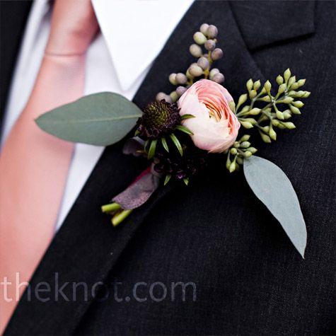 Pink Ranunculus Boutonniere    Tim's simple boutonniere of berries and a single pink ranunculus matched his tie.