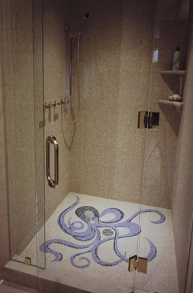 Octopus Mosaic Shower Floor By Appomattox Tile Art