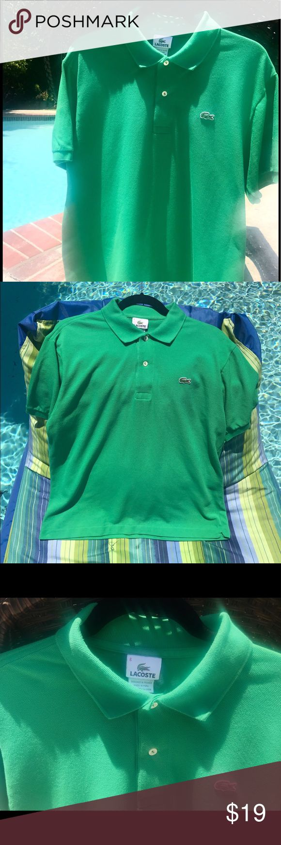 Lacoste Kelly Green Polo Shirt Vintage Size 6 Lacoste Kelly Green polo shirt. Good vintage condition! Small snag on bottom back right but barely noticeable (see photo). Size 6. Perfect for summer wear! Lacoste Tops Tees - Short Sleeve
