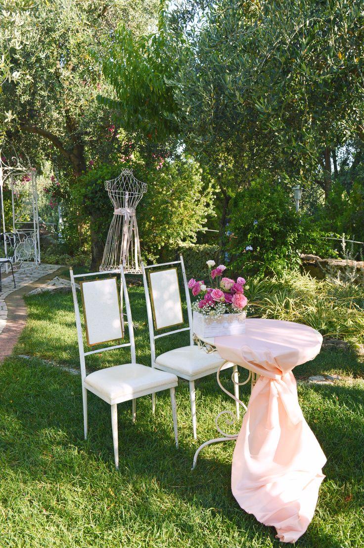 Bride and Groom aperitif table in our garden