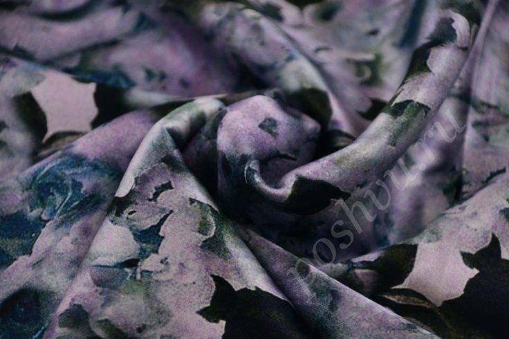 Ткань шикарный шелк ICEBERG глубокого сиреневого цвета с цветочным принтом