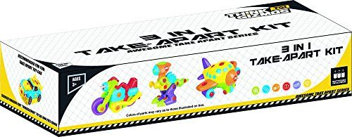 Take Apart Toys Set For Toddlers TG651 – 3 in 1 Take Apart Toys For Boys Kit With Lights And Sounds. Make Your Own Plane, Dinosaur Toy and Motorbike by ThinkGizmos (Trademark Protected)