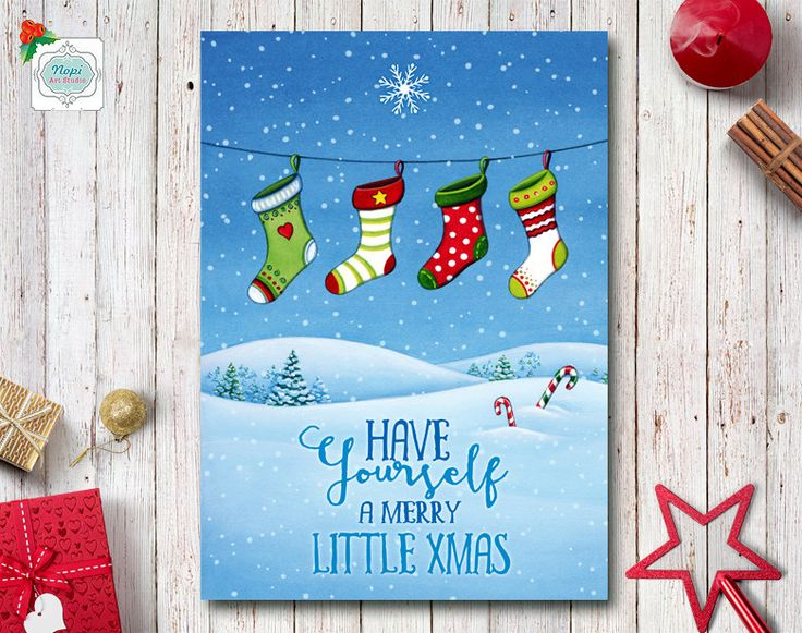 Printable Holiday Greeting Cards, Merry Christmas Card, Watercolor Christmas Stockings Winter Landscape, Holiday Decor, Happy Holidays Card by NopiArtStudio on Etsy