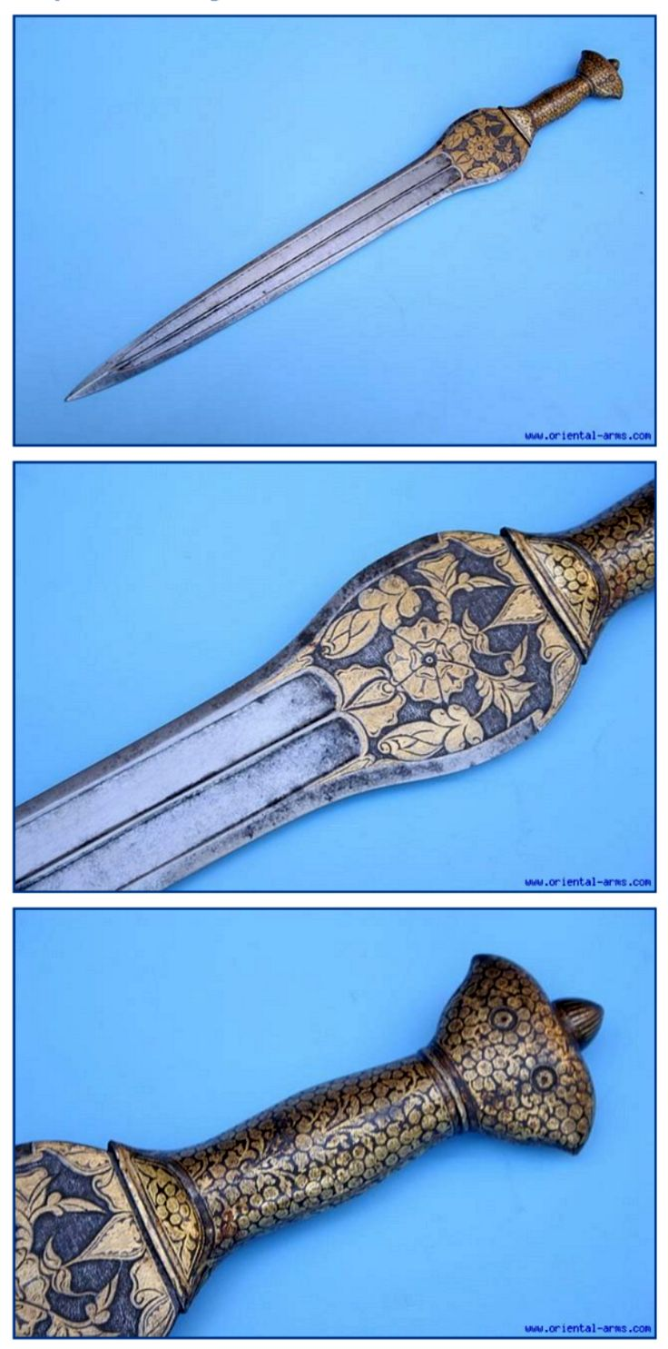 """Indo-Afghan pahari sword (cobra sword) with mixed Indian and Afghan elements, straight blade bulged at the ricasso. Total length 22 inches, 17 inche blade, with slightly thickened armor piercing tip, widens to 2 ½ inches at its top. Steel handle. Both blade and handle are decorated with gold koftgari floral design, with two golden """"eyes"""" on the pommel, which may explain the origin of the cobra name given to it."""