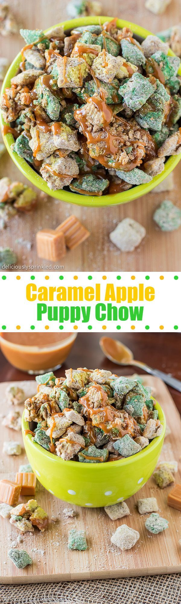 Caramel Apple Puppy Chow- all the flavors you love from a caramel apple in this puppy chow snack!