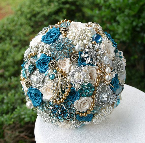 Teal and Gold Wedding Brooch Bouquet. Deposit on a made to order Heirloom Bridal Broach Bouquet. on Etsy, $75.00