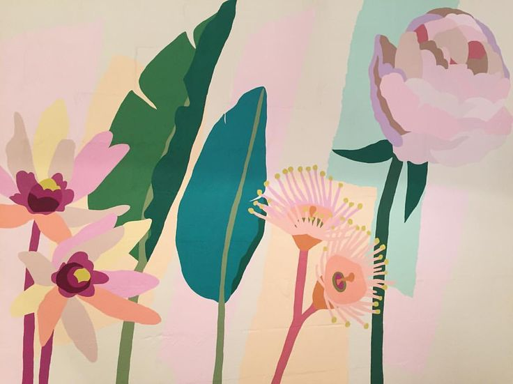 """862 Likes, 26 Comments - Leah Bartholomew (@leahbartholomew) on Instagram: """"A detail of my latest mural for @flourish_pr with peonies, Australian natives and banana palms.…"""""""