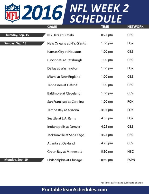 NFL Weekly Schedule