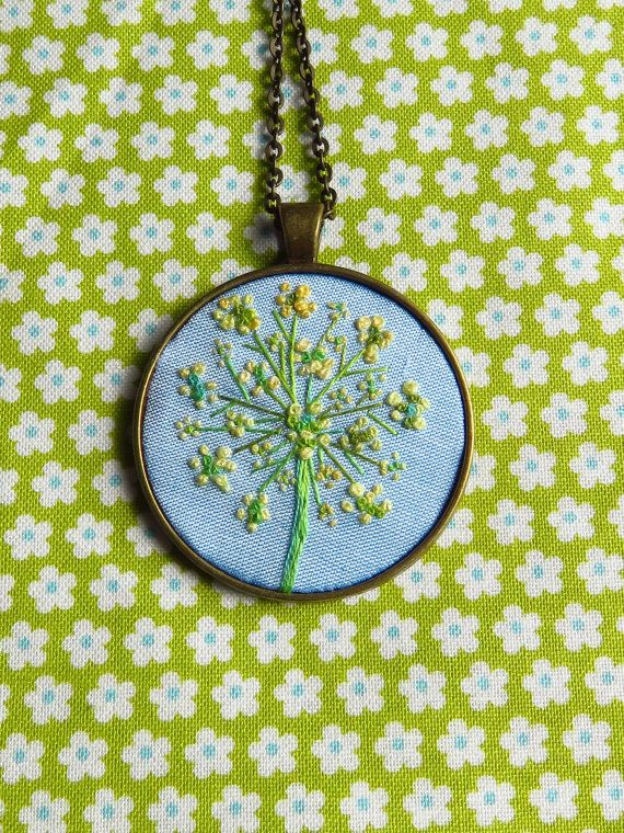 Art hand embroidery flower necklace french by MargDierEmbroidery