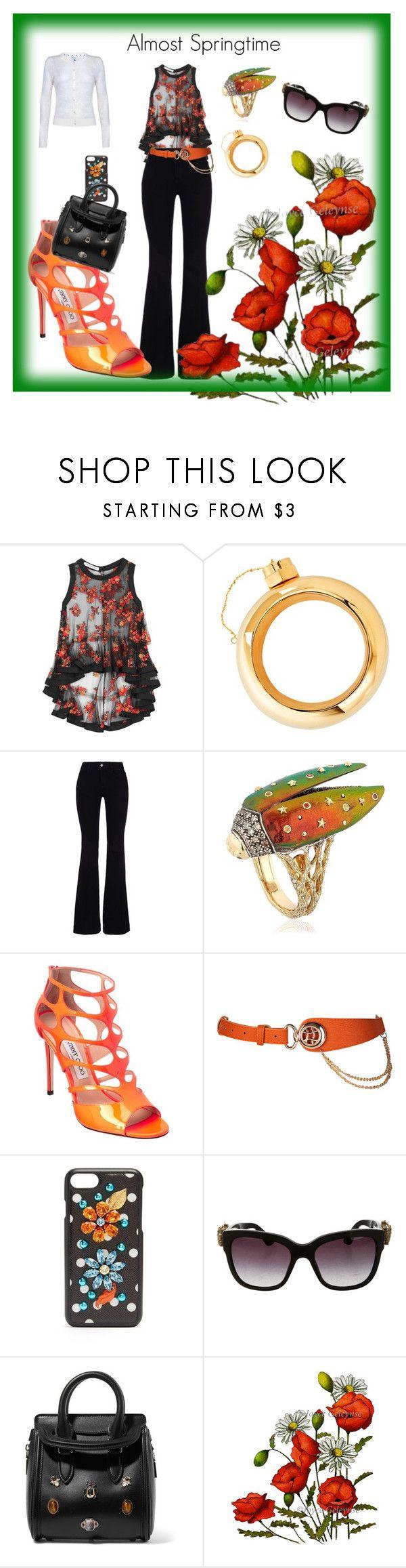 """Almost Springtime"" by cheryl-muscoe ❤ liked on Polyvore featuring Philosophy di Lorenzo Serafini, Cynthia Rowley, STELLA McCARTNEY, BIBI VAN DER VELDEN, Jimmy Choo, Dolce&Gabbana, Alexander McQueen and Yumi"